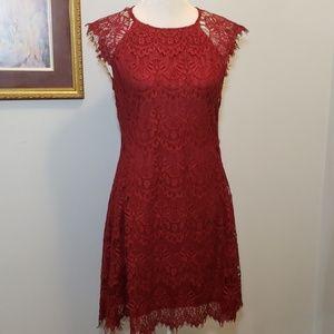 AX Burgandy Eyelash Lace Dress Sleeveless EUC